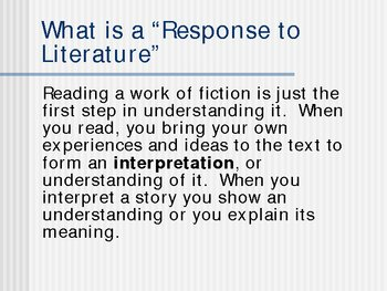 response to literature outline